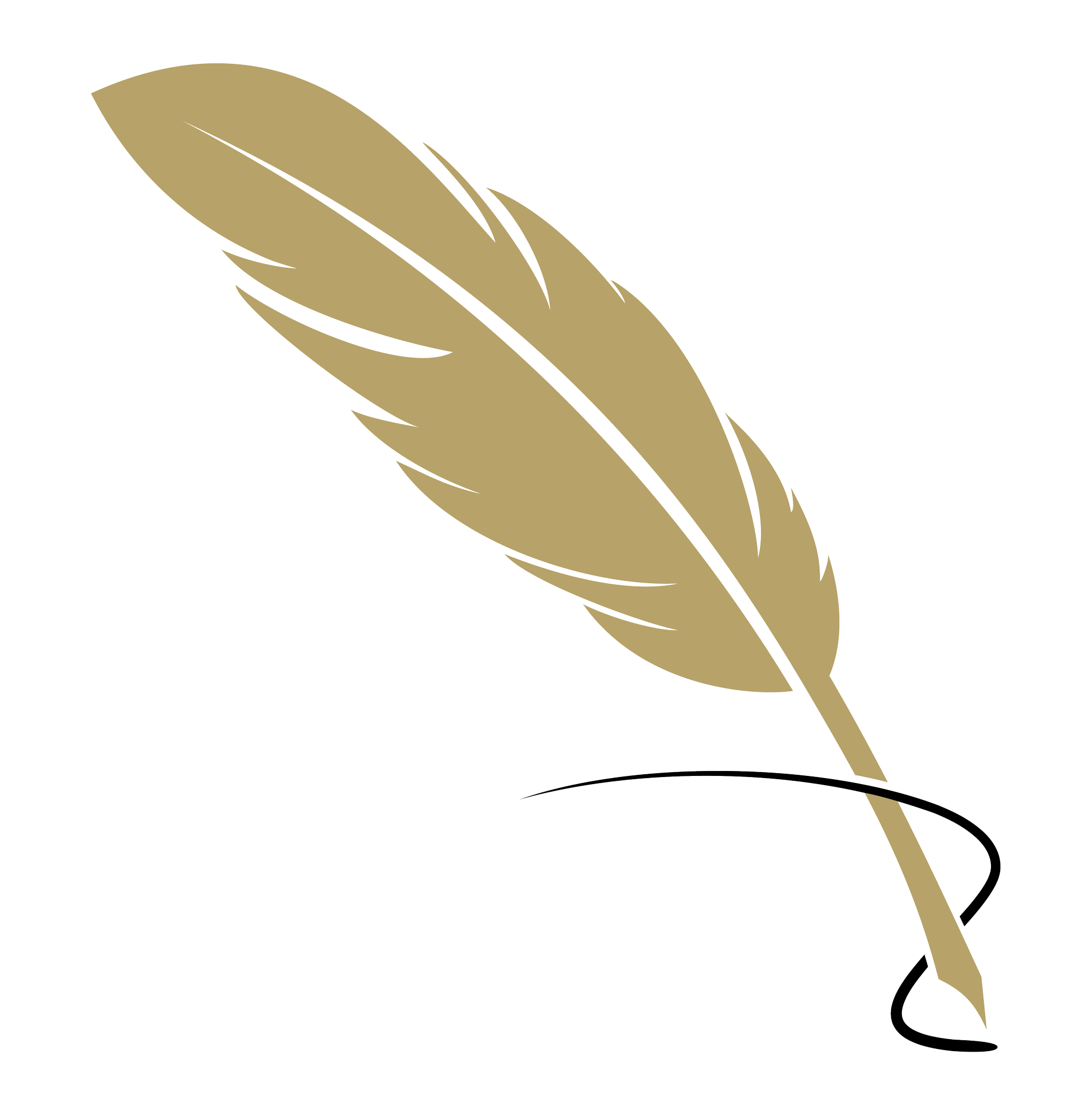 gold quill logo with black ink swirl